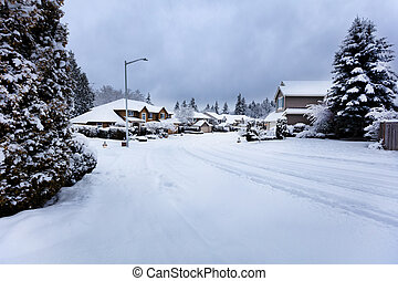 Rare snow storm in Northwest United States with residential homes in background