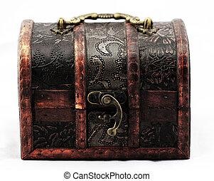Rare treasure chest on white background