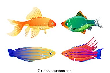 Rare Varicolored Sea Creature Cartoon Illustration - Green...