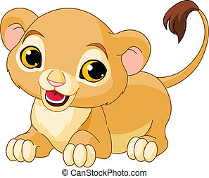 Raring Lion Cub - Raring cute Lion Cub of a white background...