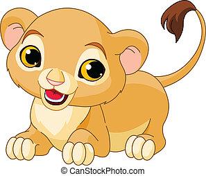 Raring Lion Cub - Raring cute Lion Cub of a white background...