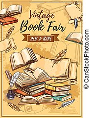 Rarity books fair and vintage bookstore, sketch