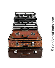 rarity brown leather suitcase - large number retro brown ...