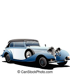 rarity cars fifty ears old. Sedan, cabriolet with closed roof. Vector illustration