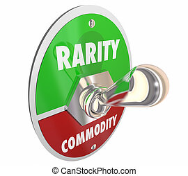 Rarity Vs Commodity Toggle Switch Rare 3d Illustration