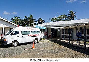 rarotonga, île, hôpital, cuisez ilôt
