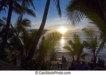 rarotonga, cook, ondergaande zon , landscape, eilanden