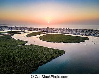 Ras al Khaimah emirate in the UAE aerial sunset view