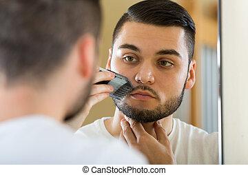 rasage, regarder, miroir, moustache