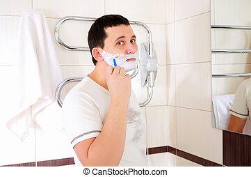 rasage, salle bains, sien, jeune homme