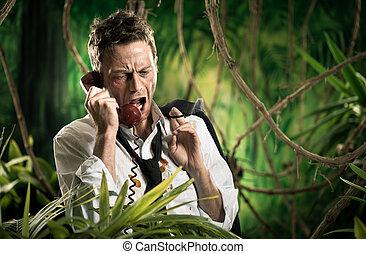 Rasande, ringa, djungel, försvunnen, affärsman