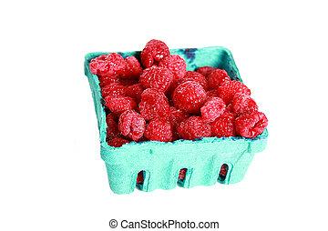 rasberry basket - A quart of big red raspberries.