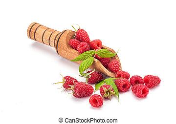 Rasberry - fresh rasberry in wooden bowl isolated on white...