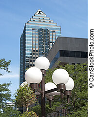 rascacielos, con, ciudad enciende