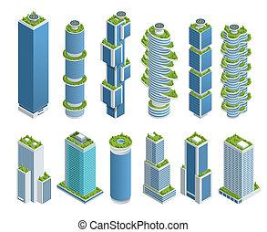 rascacielos, concept., urbano, vida, balcony., ambiente, ecologic, árboles, cada, conjunto, isométrico, ecología, verde, moderno, muchos, ciudad
