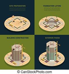 rascacielos, construcción, isométrico