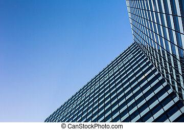rascacielos, de, abajo, debajo