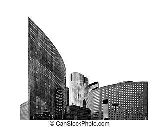 rascacielos, de, zona comercial