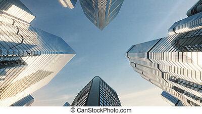 rascacielos, disparo ángulo, ciudad
