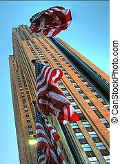 rascacielos, en, ciudad nueva york