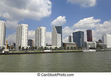 rascacielos, en, rotterdam, en, el, río, orilla