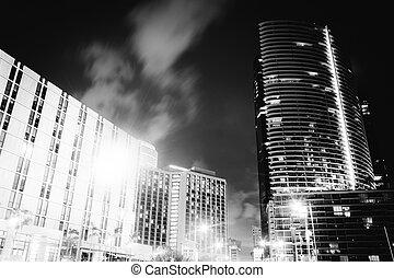 rascacielos, florida., brickell, miami, céntrico, por, ...