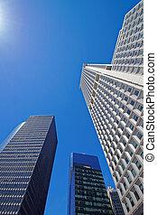 rascacielos, levantamiento, arriba, a, el, cielo
