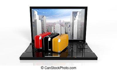 rascacielos, maletas, computador portatil, aislado,...