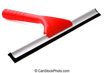 raschiapolvere, isolato, finestra, fondo, bianco rosso