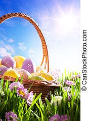 rasen, Kunst, Fruehjahr, Eier, korb, Ostern