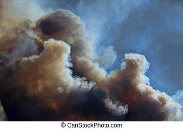 rasende, løbeilder, skyer, røg
