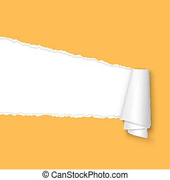 rasgado, abertos, papel, com, espaço, para, texto