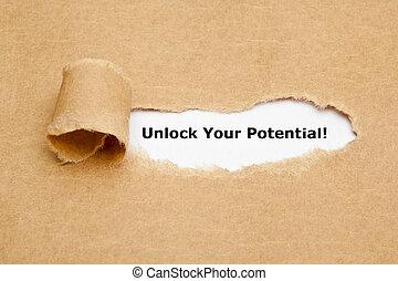 rasgado, abrir, papel, potencial, su