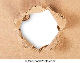 rasgado, agujero, en, cartón