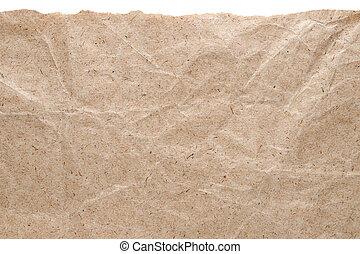 rasgado, aislado, borde, papel, plano de fondo, blanco, kraft