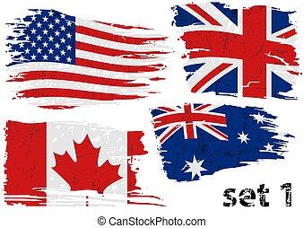 rasgado, bandeira, jogo, nós, gb, lata, austrália