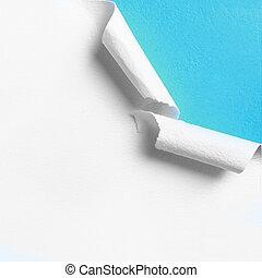 rasgado, borda, papel, branca, pedaço, buraco