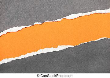 rasgado, borda, papel, com, espaço, para, seu, mensagem