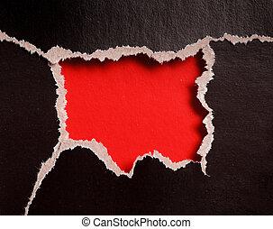 rasgado, bordes, papel, calabozo, rojo