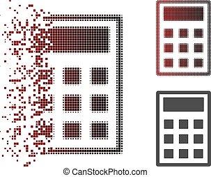 rasgado, calculadora, halftone, ponto, ícone