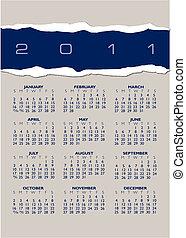 rasgado, calendário, papel, 2011
