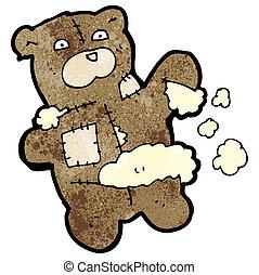 rasgado, caricatura, urso, pelúcia