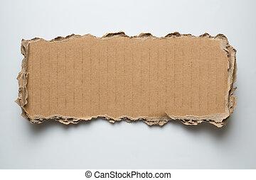 rasgado, cartón, pedazo