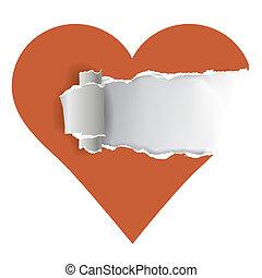rasgado, coração, papel