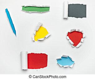 rasgado, dañado, destruido, papel, estallar, agujero