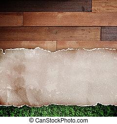 rasgado, experiência., madeira, papel, reciclado