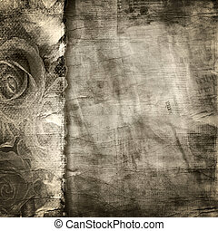 rasgado, experiência., papel, antigas, textura
