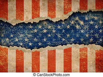 rasgado, grunge, estados unidos de américa, patrón, bandera...