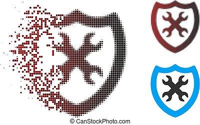 rasgado, halftone, segurança, configuração, pixel, ícone