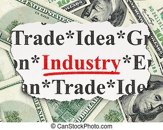 rasgado, jornal, com, palavras, indústria, ligado, dinheiro, fundo